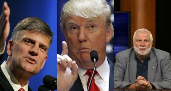 od lewej: Franklin Graham, Donald Trump, Rick Joyner